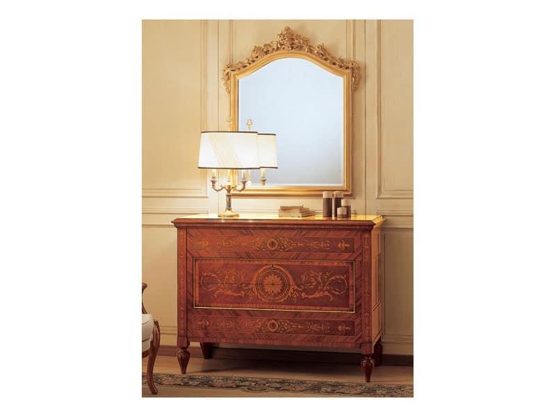 Art. 2165 '700 Italiano Maggiolini, Specchiera classica di lusso, con cornice intagliata, foglia oro