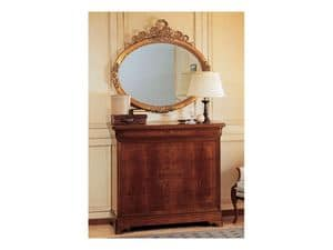 Art. 2170/0 '800 Francese Luigi Filippo, Specchio elegante, ovale, con cornice foglia oro, intagliata a mano