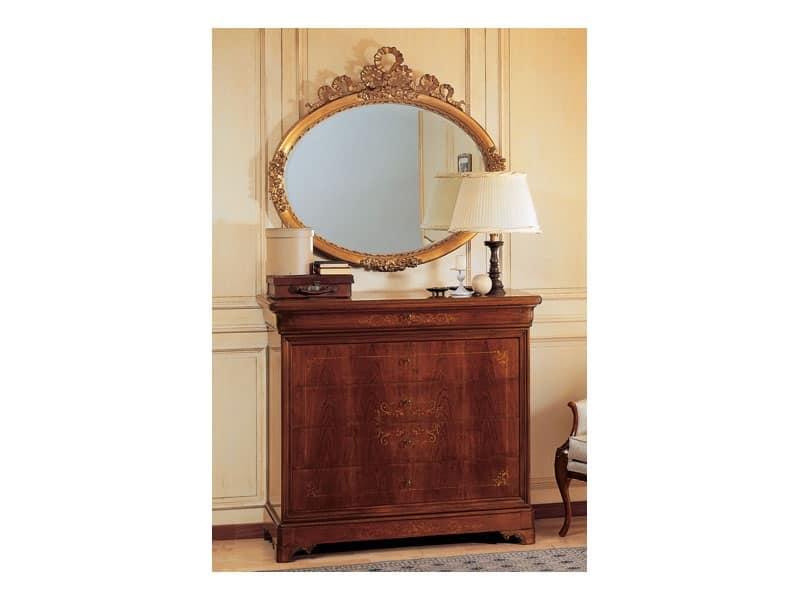 Specchio elegante ovale con cornice foglia oro intagliata a mano idfdesign - Specchio in francese ...