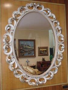 Art. 76/O, Specchiera ovale per la casa, classica, cornice intagliata