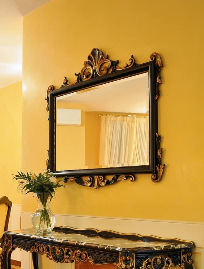 Art. 811-SH Clara, Specchio in faggio, finiture in foglia oro anticato