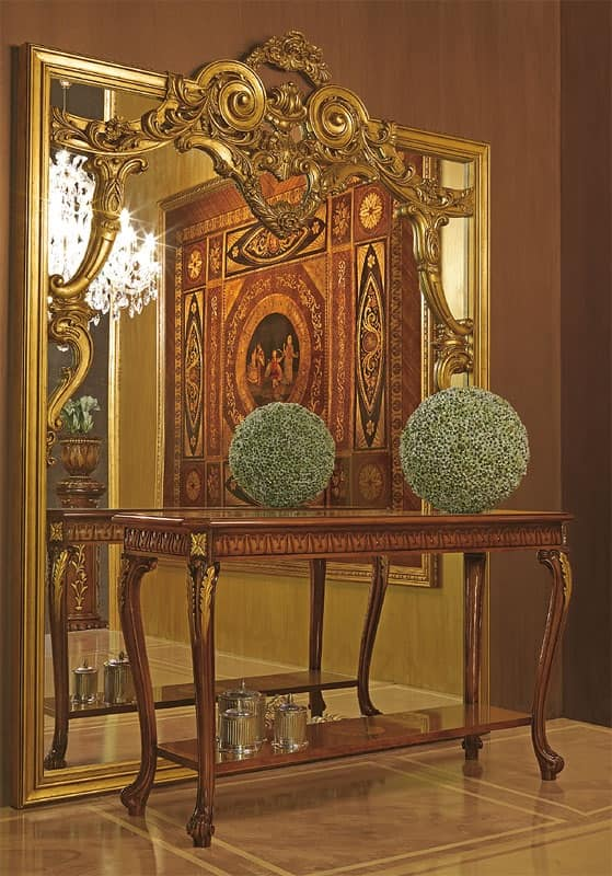 Ampia specchiera con cornice in legno intagliato a mano - Specchi classici ...