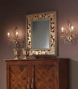 Art. H088 SPECCHIERA, Specchiera classica con abbellimenti a foglia oro