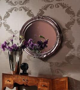 Art. H764 SPECCHIERA OVALE, Specchiera ovale classica, con intagli