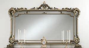 Art. L-926 K, Specchiera in legno laccata, decorazioni floreali, in stile classico