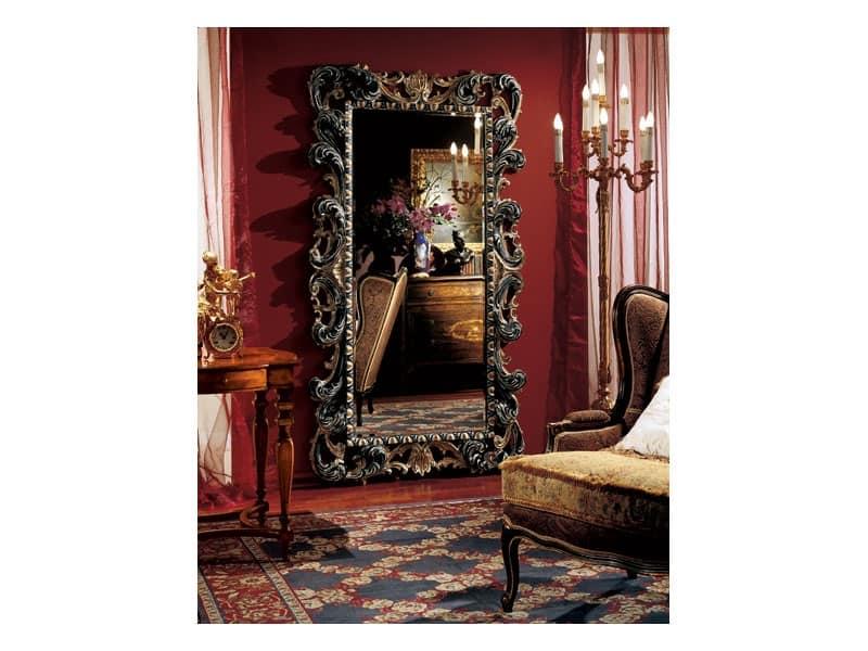 Complements specchiera 854, Grande specchio rettangolare con cornice decorata in legno