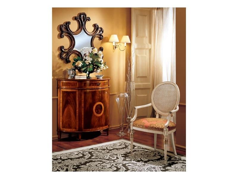 Complements specchiera 862, Specchio con cornice in legno decorato