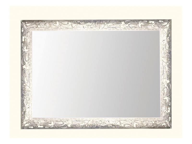 Specchio con cornice in legno decorata con foglie d 39 uva - Specchio cornice bianca ...