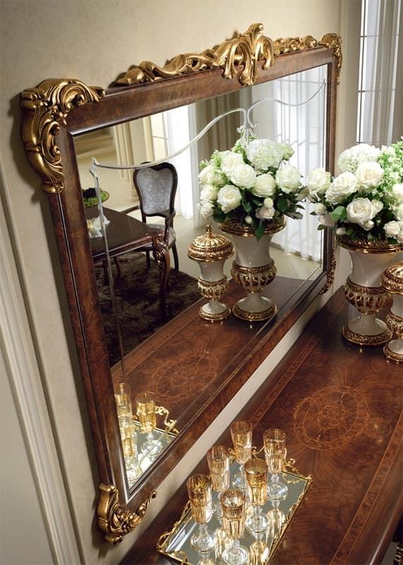 Donatello specchiera, Specchiera classica di lusso, cornice intagliata e decorata a mano, per ogni ambiente neoclassico