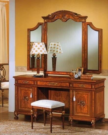 Specchiera per camera da letto con due specchi laterali idfdesign - Specchi particolari per camera da letto ...