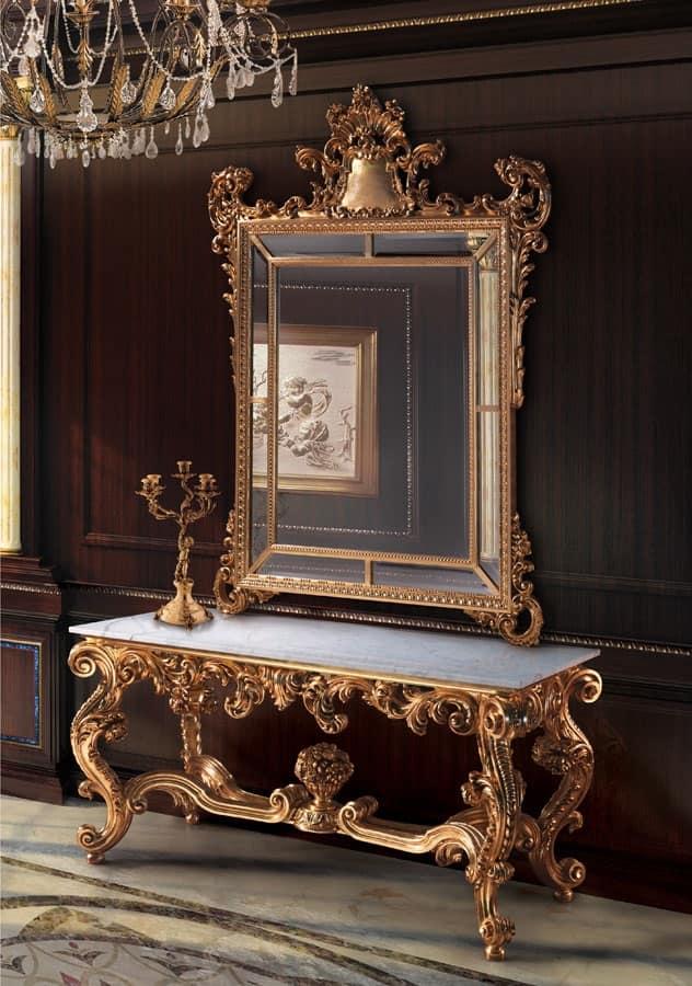 Specchiera e consolle dorate per hall classiche idfdesign for Mobili consolle ingresso classiche