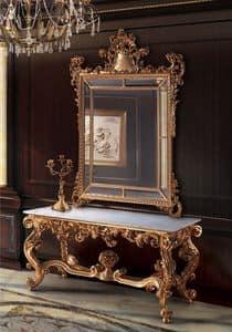 F463, Specchiera e consolle dorate, per Hall classiche