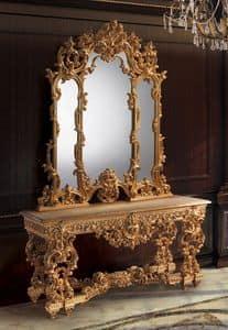 F770, Consolle e specchiera dorate, in stile classico di lusso