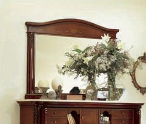 Gardenia specchiera, Specchiera rettangolare, in legno intagliato
