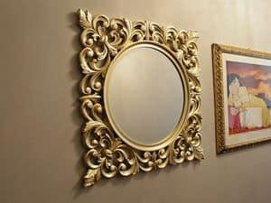 Ibis Gold specchiera, Specchiera tonda, con cornice oro