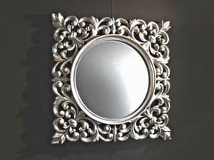 Ibis Silver specchiera, Specchiera da parete, cornice intagliata, finitura argento