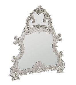 Imperial specchiera, Specchiera con cornice in madreperla, intagliata e rivestita in oro bianco