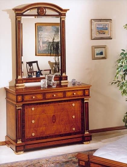 IMPERO / Specchiera, Specchiera con cornice in legno intagliato, stile classico