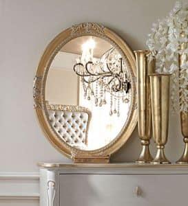 Live 5307 specchiera, Specchio ovale, con cornice in legno intagliato, per l'arredo classico