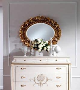 OLIMPIA B / Specchiera ovale, Specchio ovale classico in legno massello intagliato