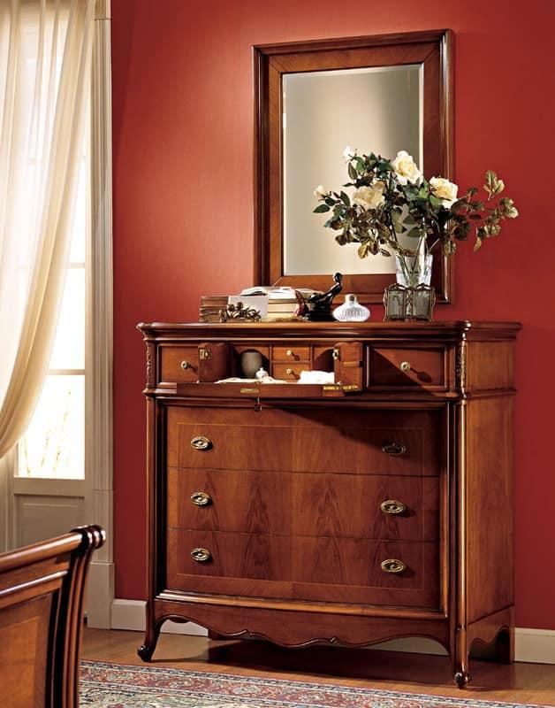 Specchiera Classica Noce Alba : Specchio elegante con cornice in noce per ristorante