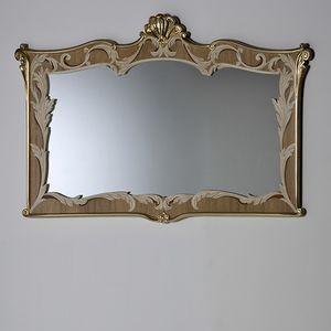 Palazzo PL216, Specchio con cornice intarsiata ed intagliata