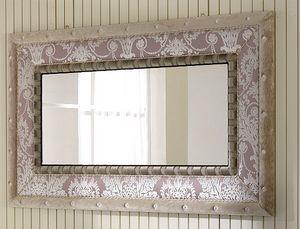 QUEEN specchiera 2, Specchiera con cornice in tessuto