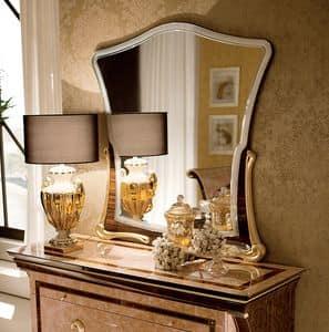 Rossini specchiera, Specchiera con basamento dorato, in stile contemporaneo