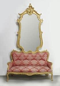 DIVANO-SPECCHIERA ART. SD 0012, Divano con specchiera per ingressi in stile classico di lusso