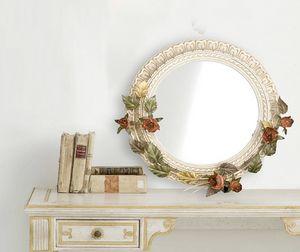 SP.7640, Specchiera tonda con decorazioni floreali