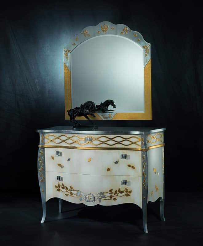 Specchiera classica di lusso in foglia oro e argento - Specchi classici ...