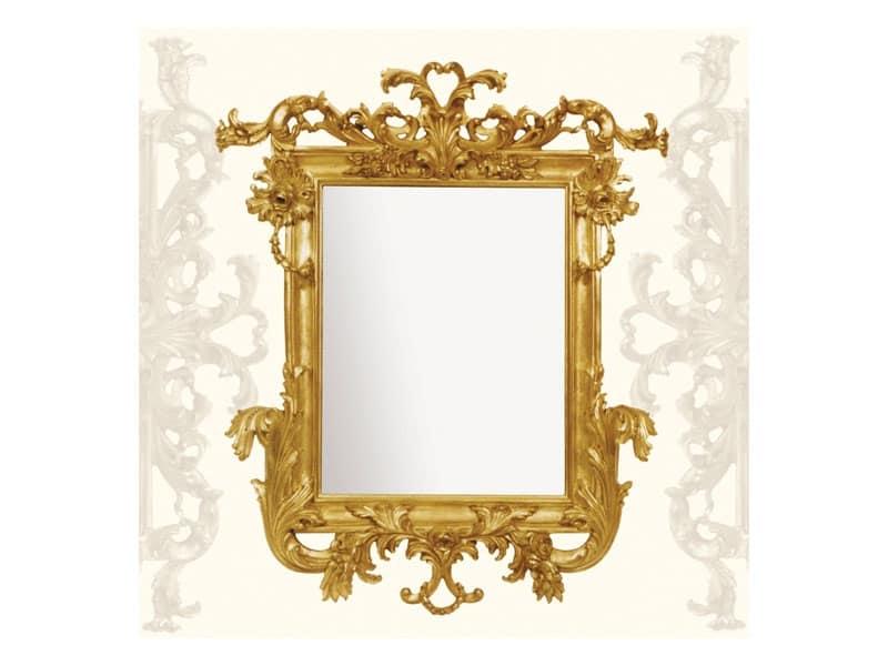 Specchiera art. 114, Specchiera con cimasa in legno intagliato