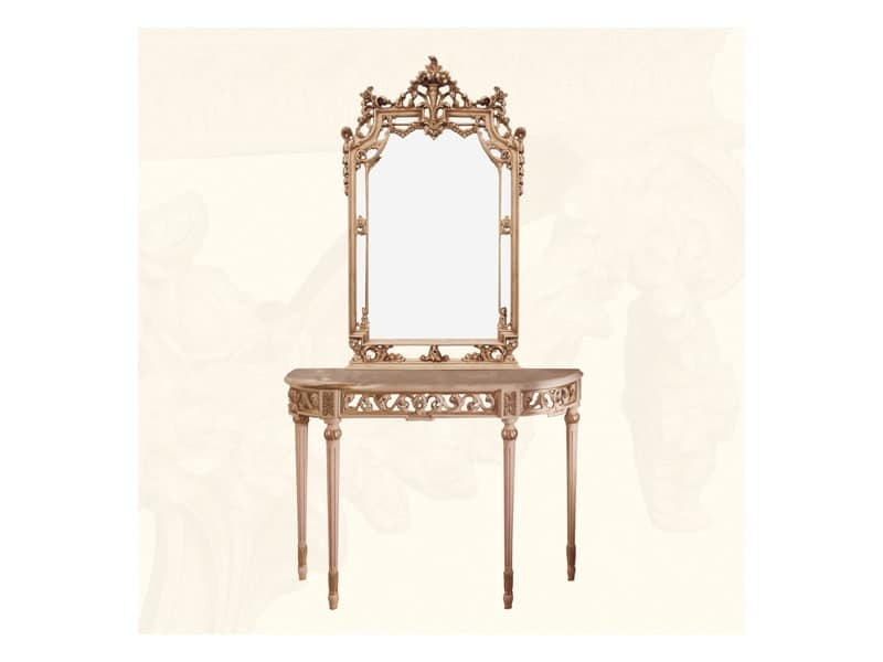 Specchiera in stile classico con finitura avorio e foglia - Specchi classici ...