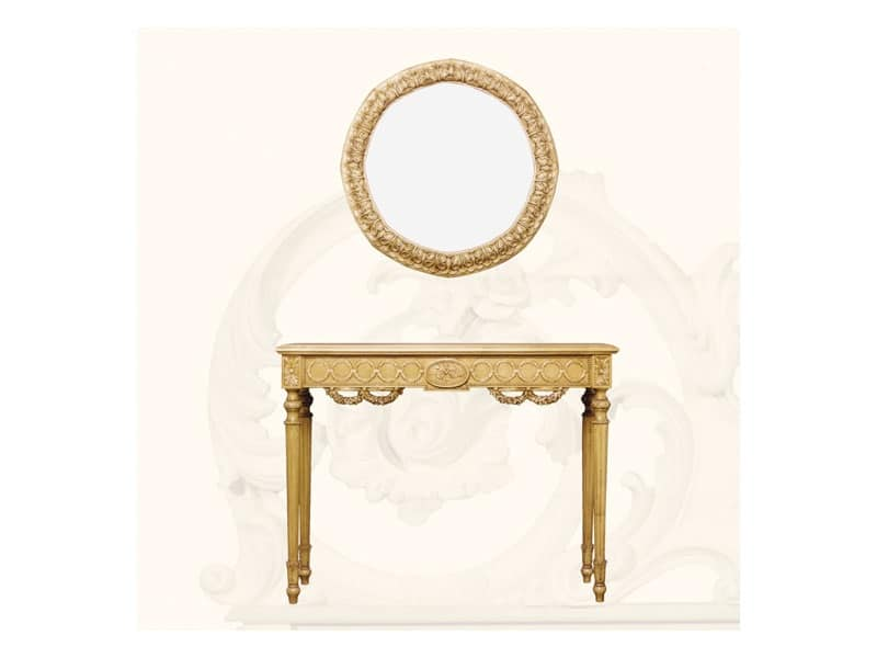 Specchiera art. 136, Specchiera tonda con cornice, stile Luigi XVI