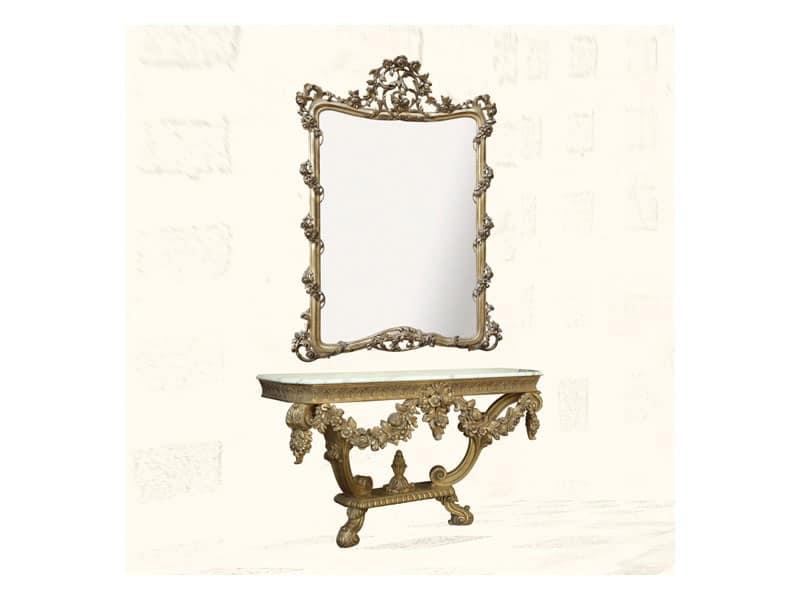 Specchiera art. 150, Specchiera con finiture in foglia oro, stile Luigi XV