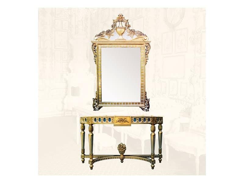 Specchiera con cornice decorata con rami foglie e fiori idfdesign - Specchi in stile ...