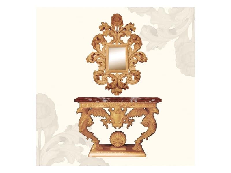 Specchiera art. 156, Specchiera con grande cornice decorata con foglie