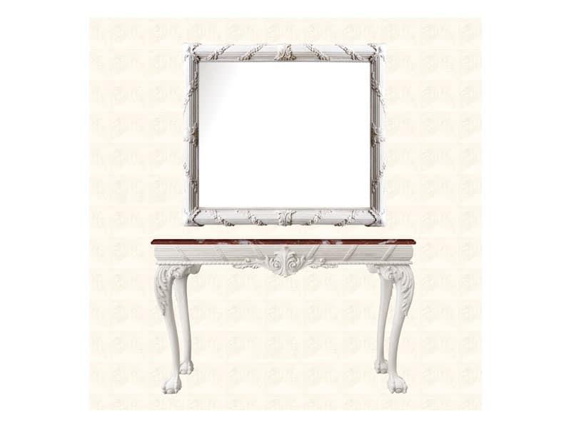 Specchiera art. 160, Specchiera con cornice decorata con ghirlanda floreale