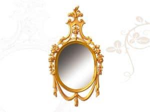 Specchiera art. 170, Specchio in stile Luigi XV, in legno intagliato a mano
