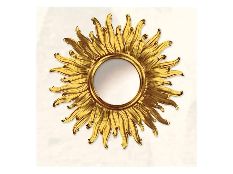 Grande specchiera a forma di sole con finiture in oro idfdesign - Specchio a forma di sole ...