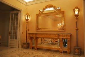 SPECCHIERA CON CIMASA ART. CR 0060, Specchiera intagliata con cimasa, per alberghi di lusso