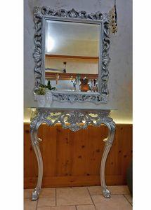 Specchiera Edera, Specchiera classica rettangolare con cornice finitura foglia argento