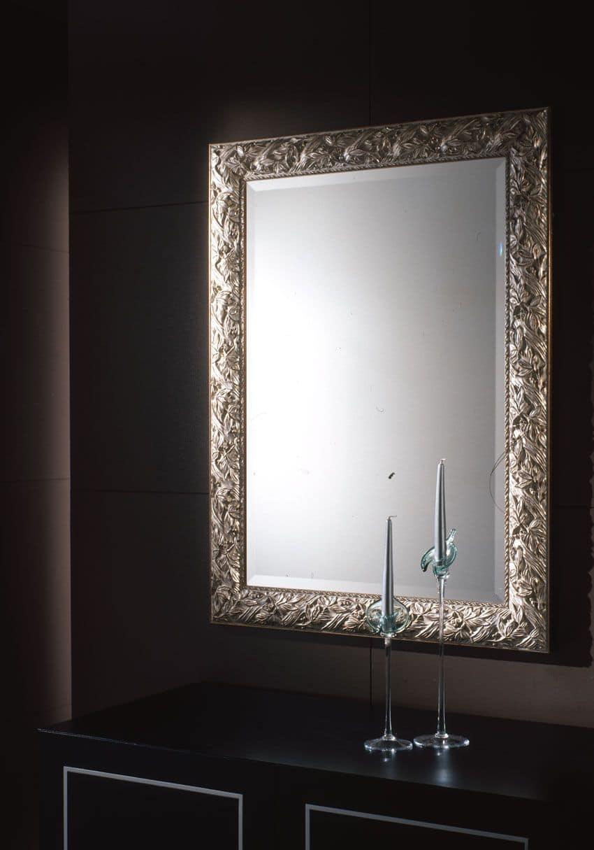 Specchio Con Cornice In Foglia Argento Per Ambienti