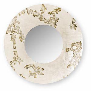 Africa Flowing round, Specchiera tonda con cornice decorata