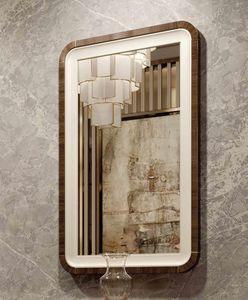 ART. 3378, Specchiera con cornice in pelle ed eucalipto