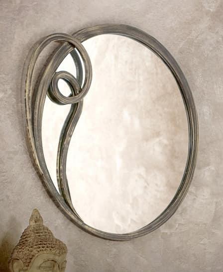 Azzurra specchiera, Specchio tondo con cornice in metallo