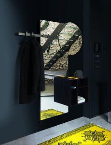 BRIO specchiera, Specchiera design con appendiabiti e vani a giorno