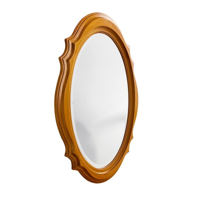 Specchio con cornice decorata finitura noce e ciliegio for Specchio noce