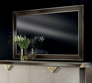 DIAMANTE specchio grande, Ampia specchiera con cornice in legno