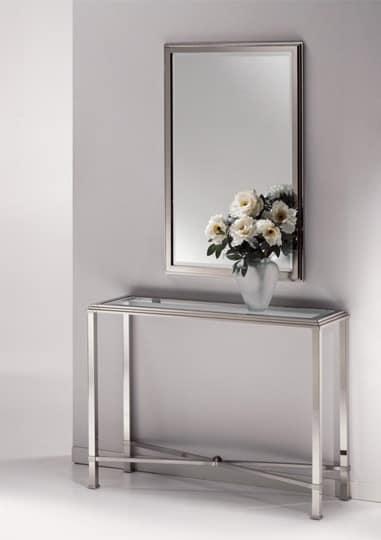 Specchio Moderno Cornice In Ottone Nickel Lucido Idfdesign